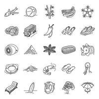 tropisch seizoen ingesteld pictogram vector. doodle hand getrokken of overzicht pictogramstijl