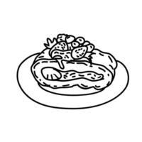 taart pictogram. kinderspel hand getrokken of zwarte omtrek pictogramstijl vector