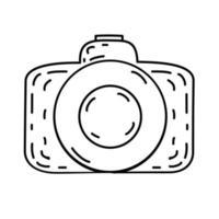 camera-icoontje. doodle hand getrokken of zwarte omtrek pictogramstijl vector