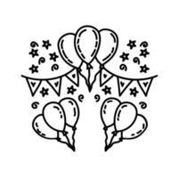viering pictogram. kinderspel hand getrokken of zwarte omtrek pictogramstijl vector