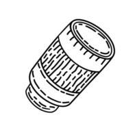 camera lens pictogram. doodle hand getrokken of zwarte omtrek pictogramstijl vector