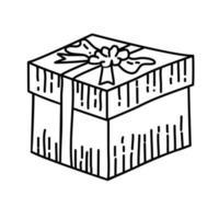 cadeau pictogram. kinderspel hand getrokken of zwarte omtrek pictogramstijl