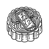 mooncake pictogram. doodle hand getrokken of overzicht pictogramstijl