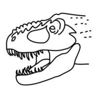 tyrannosaurus rex pictogram. doodle hand getrokken of zwarte omtrek pictogramstijl