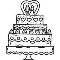 bruidstaart pictogram. kinderspel hand getrokken of zwarte omtrek pictogramstijl. vector pictogram