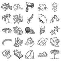 strandvakantie instellen pictogram vector. doodle hand getrokken of overzicht pictogramstijl vector