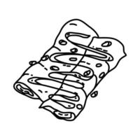 kip enchiladas pictogram. doodle hand getrokken of overzicht pictogramstijl vector