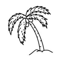 kokosnoot boom pictogram. doodle hand getrokken of overzicht pictogramstijl