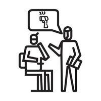 Controleer het pictogram van de lichaamstemperatuur. symbool van activiteit of illustratie om met het coronavirus om te gaan