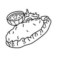 calzones pictogram. doodle hand getrokken of overzicht pictogramstijl