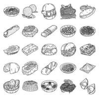 Italiaans eten ingesteld pictogram vector. doodle hand getrokken of overzicht pictogramstijl vector