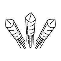 Nieuwjaar benzine pictogram. doodle hand getrokken of overzicht pictogramstijl vector