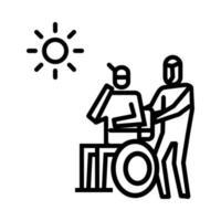 de patiënt koestert zich in het zonpictogram. symbool van activiteit of illustratie om met het coronavirus om te gaan vector