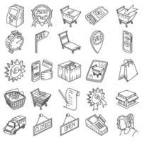 winkelen ingesteld pictogram vector. doodle hand getrokken of overzicht pictogramstijl