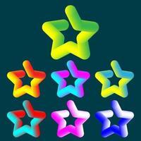 set van kleurrijke 3D-ontwerp sterren. vector illustratie