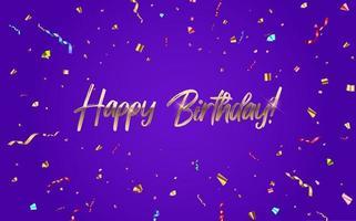 gelukkige verjaardag gefeliciteerd bannerontwerp met confetti en glanzend glitter lint voor feestvakantie achtergrond. vector illustratie