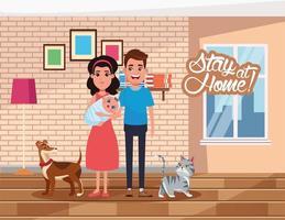 Blijf thuis campagne met ouders die baby en huisdieren optillen