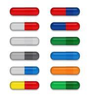set van volledig gekleurde medische pillen op witte achtergrond. virus capsule. het medicijn. vector illustratie. eps10