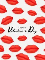 Valentijnsdag achtergrondontwerp met realistische lippen ... sjabloon voor reclame, web, sociale media en mode-advertenties. poster, flyer, wenskaart. vector illustratie