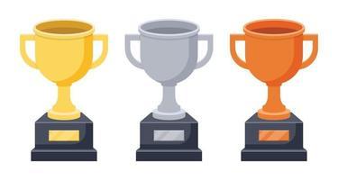 gouden, zilveren en bronzen trofee vectorillustratie geïsoleerd op wit vector