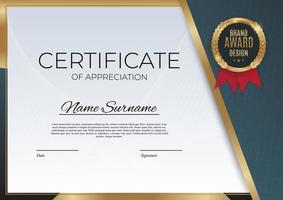 blauw en goud certificaat van prestatie sjabloon ingesteld met gouden badge en rand