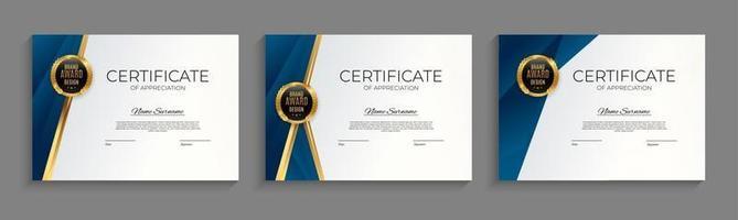 blauw en goud certificaat van prestatie sjabloon instellen achtergrond met gouden badge en rand. award diploma ontwerp leeg