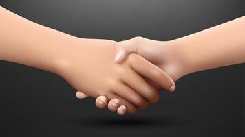 realistische handshaking op donkere achtergrond vector