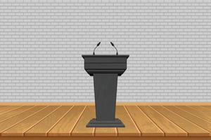 houten tribune met microfoons op stadiumachtergrond