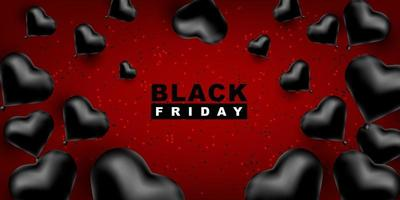 zwarte vrijdag vector achtergrond. donkere sjabloon voor een banner met zwarte ballonnen hartvorm