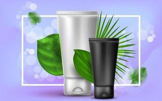 realistische cosmetische vectorillustratie met een plastic witte en zwarte tube crème of lotion. tropische palmbladeren op een paarse achtergrond. banner voor de reclame en promotie van gezichtsproducten. vector