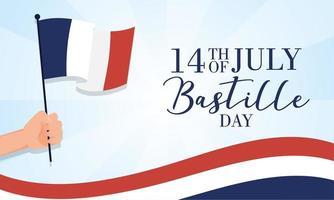 bastille dag viering kaart met hand een Franse vlag zwaaien vector