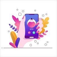 mama is aan de telefoon. inkomend gesprek op de smratphone. de hand houdt de telefoon vast. vlakke trend botanische illustratie met bladeren op een witte achtergrond.