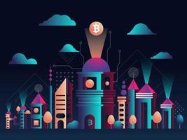 vector illustratie. futuristische stadsgezicht. de stad van de toekomst. een symbool van bitcoin en blockchain. geometrische vormen en memphis-stijl. nachtelijke hemel met wolken achtergrond