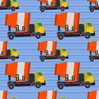 Betonmixer vrachtwagen naadloze patroon vectorillustratie