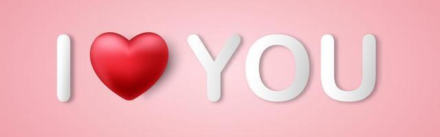 Valentijnsdag, ik hou van je een bericht op de roze achtergrond vector