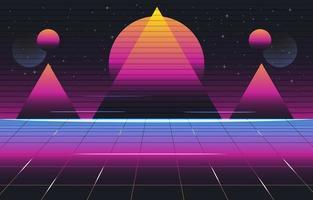 driehoek neon retro futurisme achtergrond