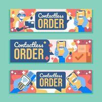 , contacless bestel digitale banner vector
