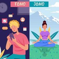 moderne generatie fomo vs jomo vector