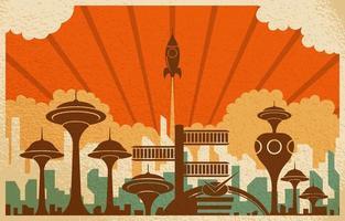 retro futuristische stad vliegende raket schip achtergrond vector