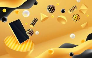 geometrische golfachtergrond met smartphone vector