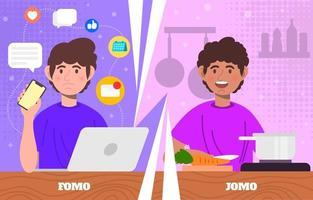 platte fomo versus jomo vector