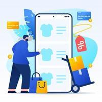 man winkelen bij online winkel vanaf smartphone vector