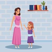 moeder en dochter blijven thuis om covid 19 te vermijden