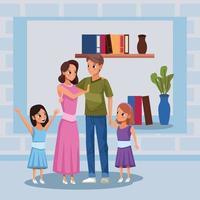 ouders en dochters die thuis blijven om covid 19 te vermijden