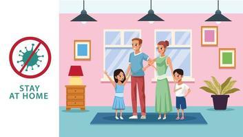 ouders met zoon en dochter die thuis blijven om covid 19 te vermijden