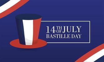 Bastille-dagvieringskaart met Franse vlag en hoge hoed vector