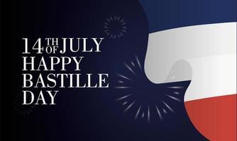 Bastille-dagvieringskaart met Franse vlag en vuurwerk vector