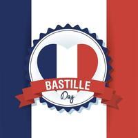 bastille-dagvieringskaart met de vlag van frankrijk in hart vector