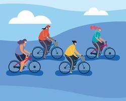 jongeren die medische maskers op fietsen dragen vector