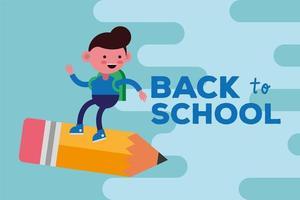 schattig terug naar schoolbanner met studentenjongen vector
